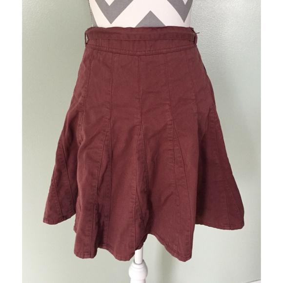 1811ab0b7 Garnet Hill Skirts   Burgundy Purple Berry Belted Skirt   Poshmark